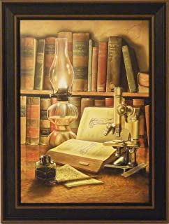 Burning The Midnight Oil by Doug Knutson 12x16 Microscope Medical Studying Art Print Wall Décor Framed Picture