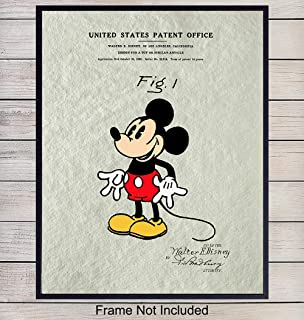 Mickey Mouse Patent Art Print - Vintage Wall Art Poster - Chic Rustic Home Decor for Kids Room, Living Room, Bedroom - Gift for Walt Disney World, Disneyland Fans, 8x10 Photo Unframed