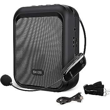 SHIDU Mini Amplificador de Voz Altavoz Bluetooth Portátil con Micrófono Inalámbrico UHF Auriculares 10W 1800mAh Sistema de PA Admite audio en formato MP3 para Profesores,Entrenadores, Guía Turístico