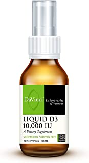 DaVinci Laboratories – Liquid D3 10,000 IU, Vitamin D3 Supplement, Immune System, Bone and Health, Non-GMO Vitamin D3, 30 ...
