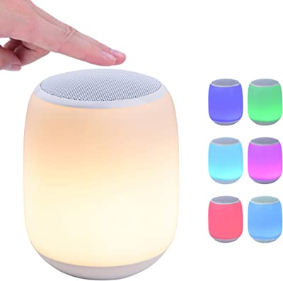 ZOESON LED Night Light with Wireless Speaker, USB Portable, Color Changing Bedside Table Smart Touch Mood Lamp for Party , Bedroom