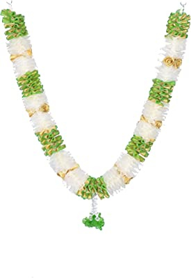 Daedal Crafters- Net Ribbon Garland with Gold Roses(White and Green) DC92