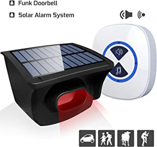 Otdair Solar Driveway Alarm System, Wireless Security Alarm Motion Sensor Detector Long Range Alert Weatherproof Outdoor Monitor for Home,Yard Gate,Office and Store