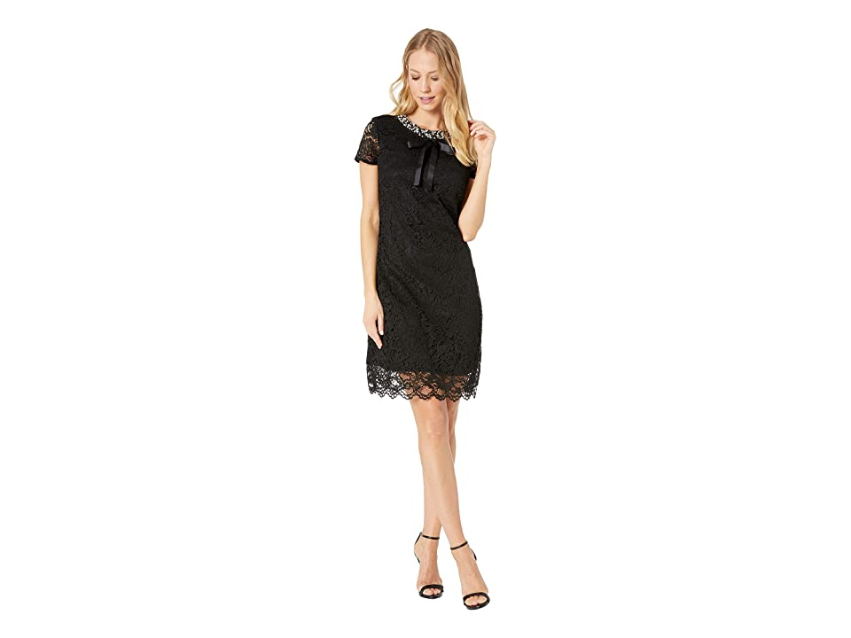 Betsey Johnson Lace Dress with Pearls (Black) Women