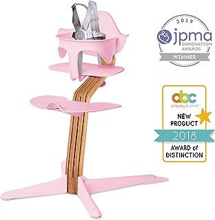 Nomi High Chair, Pink – Premium Natural Oak Wood, Modern Scandinavian Design with a Strong Wooden Stem, Baby through Teenager and Beyond with Seamless Adjustability, Award Winning Highchair