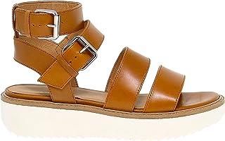 Luxury Fashion | Janet Sport Women JSPO43907 Brown Leather Sandals | Season Outlet