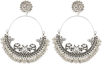 ARADHYA ` Traditional Imitation Silver Plated Oxidized Silver Earrings For Women, Silver