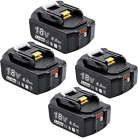 Akkopower 四個セットマキタバッテリー BL1860B マキタ 互換バッテリー 18v 6.0AhLED残量表示付き bl1860b BL1830 BL1840 BL1850 BL1830b BL1840b BL1850b BL1860b 完全対応 電動工具用バッテリー リチウムイオン電池