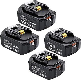 Akkopower 四個セットマキタ 互換バッテリー BL1860B マキタ 18v バッテリー18v 6.0AhLED残量表示付き bl1860b BL1830 BL1840 BL1850 BL1830b BL1840b BL1850b BL...