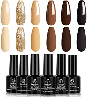 Beetles Gel Nail Polish Set - Roasted Chestnuts Collection 6 Colors Fall Winter Chocolate Brown Gel Polish Kit Neutral Bei...