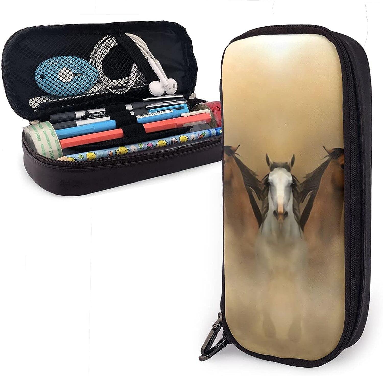 mengmeng Estuche de piel para correr carreras de caballos de carreras, gran capacidad, bolsa para lápices, organizador de papelería con caja de almacenamiento de cremallera, bolsa de maquillaje