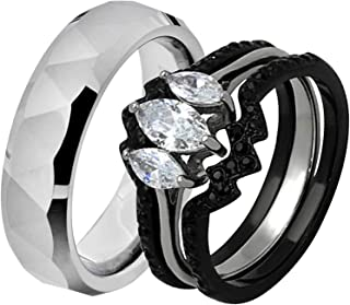 His & Hers Wedding Ring Sets Stainless Steel Marquise CZ Triangle Faceted Tungsten Men GQ