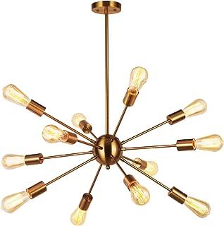 VINLUZ 12 Light Sputnik Chandelier Brass Lighting