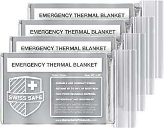 Swiss Safe Emergency Mylar Thermal Blankets (4-Pack) + Bonus Signature Gold Foil Space Blanket: Designed for NASA, Outdoors, Hiking, Survival, Marathons or First Aid