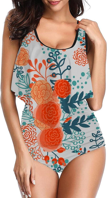 PotteLove Women's Floral-181 Swimsuits Printed Tankini top with High Waist Bottom Bikinis Set Two Pieces Swimdress