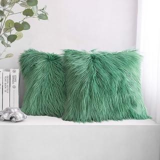 "PHANTOSCOPE Set of 2 Decorative New Luxury Series Merino Style Green Fur Throw Pillow Case Cushion Cover 20"" x 20"" 50 x 50 cm"