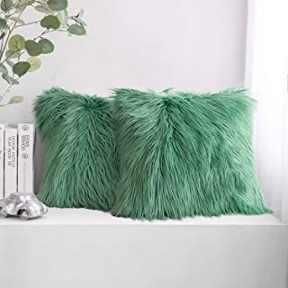 Phantoscope Pack of 2 Luxury Series Throw Pillow Covers Faux Fur Mongolian Style Plush Cushion Case for Couch Bed and Chair, Green 20 x 20 inches 50 x 50 cm