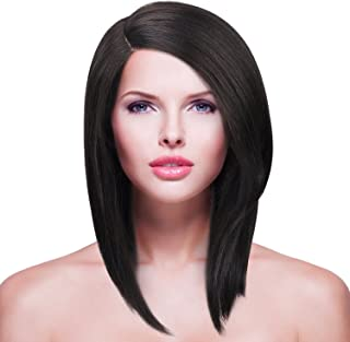 Shoulder Length Lace Front Wig for Women,L Part Short Bob Synthetic Natural Straight Hair Replacement Wig Heat Resistant 12 Inch Black