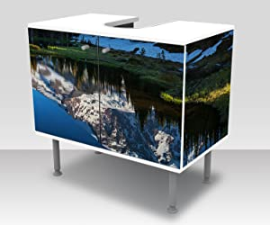 Bathroom Floor Cabinet Forest with a Lake on a Mountain Landscape Design Cupboard Bathroom Cabinet Vanity Unit