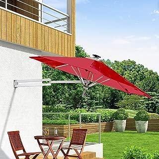 PARASOL HXLQ Outdoor Umbrella, Cantilever, Solar Led Light, Folding Telescopic Balcony Umbrella, Patio Umbrella, 2.5 M Waterproof Uv Umbrella Garden, Terrace Leisure Place