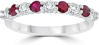 1/2CT Ruby & Diamond Wedding Ring 10K White Gold