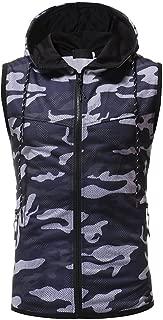 Mens Updated Camo Slim Fit Tank Top Hoodie Workout Zip-Up Pocket Sleeveless Vest Long Sleeve Jacket
