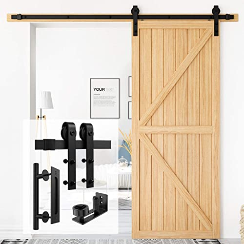 """high quality Homlux 6.6ft Heavy Duty Sturdy Sliding Barn Door Hardware Kit Single Door + 12"""" Heavy Duty Pull discount and Flush Round lowest Black Door Handle Set + Adjustable Sliding Barn Door Floor Guide -Smoothly and Quietly outlet online sale"""