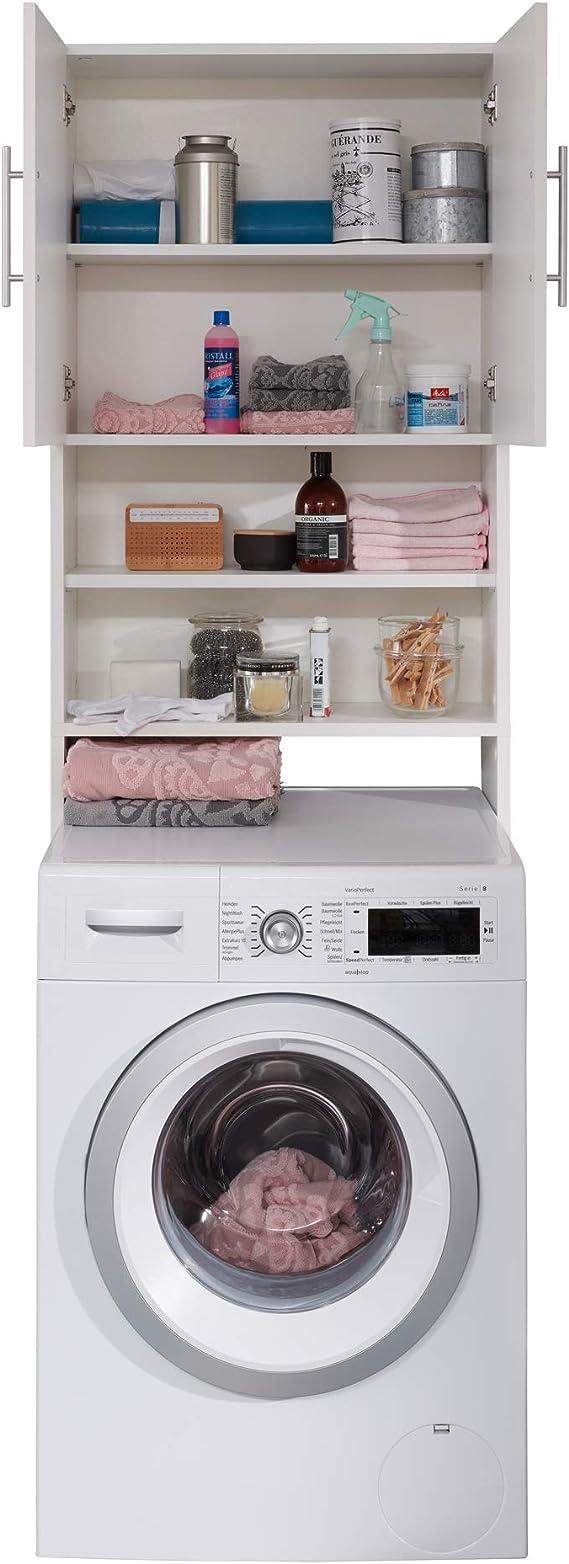 trendteam smart living Badezimmer Waschmaschinenschrank  Waschmaschinenüberbau Basix, 20 x 20 x 20 cm Weiß mit viel Stauraum