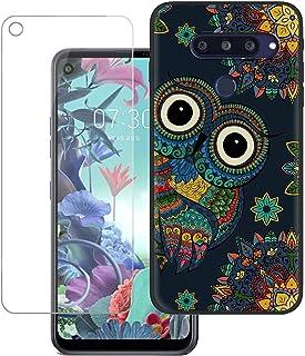 YZKJ Fodral för LG Q70 Cover svart mjukt silikon skyddsfodral flexibel TPU skal fodral pansarglas skärmskydd för LG Q70 (...