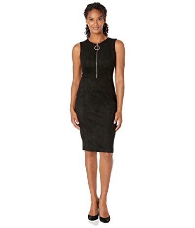 Calvin Klein Zipper Front Sheath Dress (Black) Women