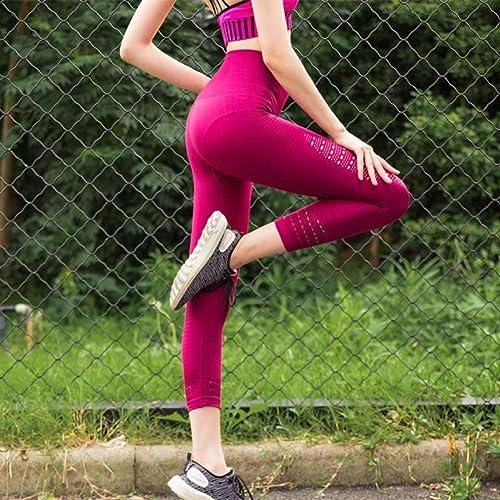 WZXY Super Extensible Jambières recadrées sans Soudure Tummy Control Yoga Pantalon Taille Haute Sport Violet Pantalon de Course Femmes Gym Collants