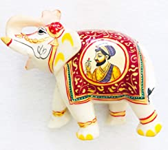 Real Genuine Rajasthani Makrana Marble Elephant (7x7 Inches) with Gold Accents and Unique Painting of Taj Mahal King Shah Jahan and His Honored Wife Mumtaz Mahal in Agra, India (Royal Purple/Yellow)