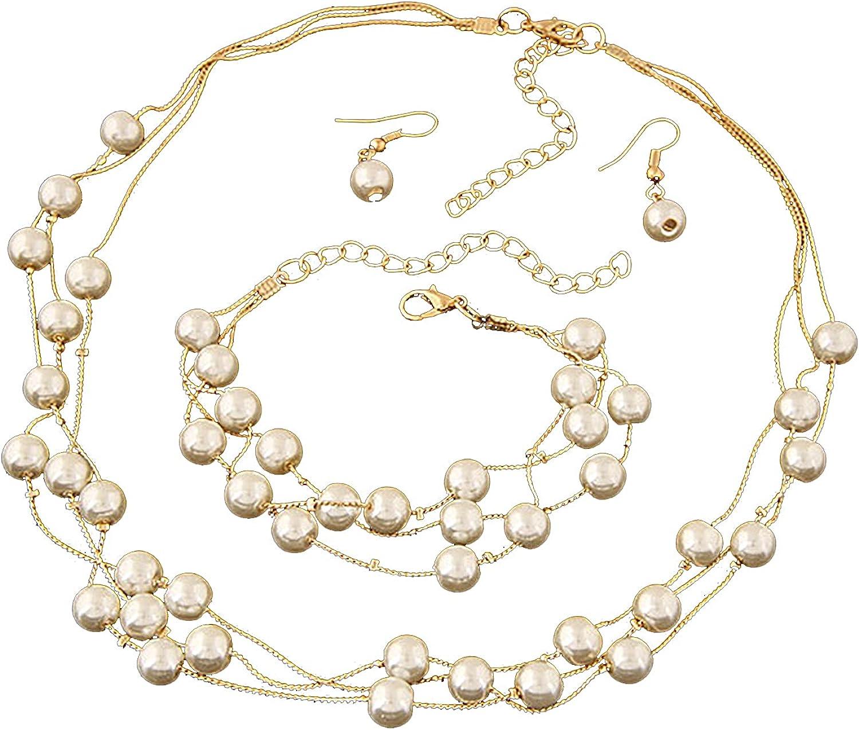 Fashion Pearl Necklace Earrings Bracelet Jewelry Set
