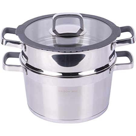 MAISON HUIS Double Boiler Steamer 6.3 QT Stainless Steel Pot with Steamer Insert and Glass Lid Steaming Cookware Compatible with All Heat Sources