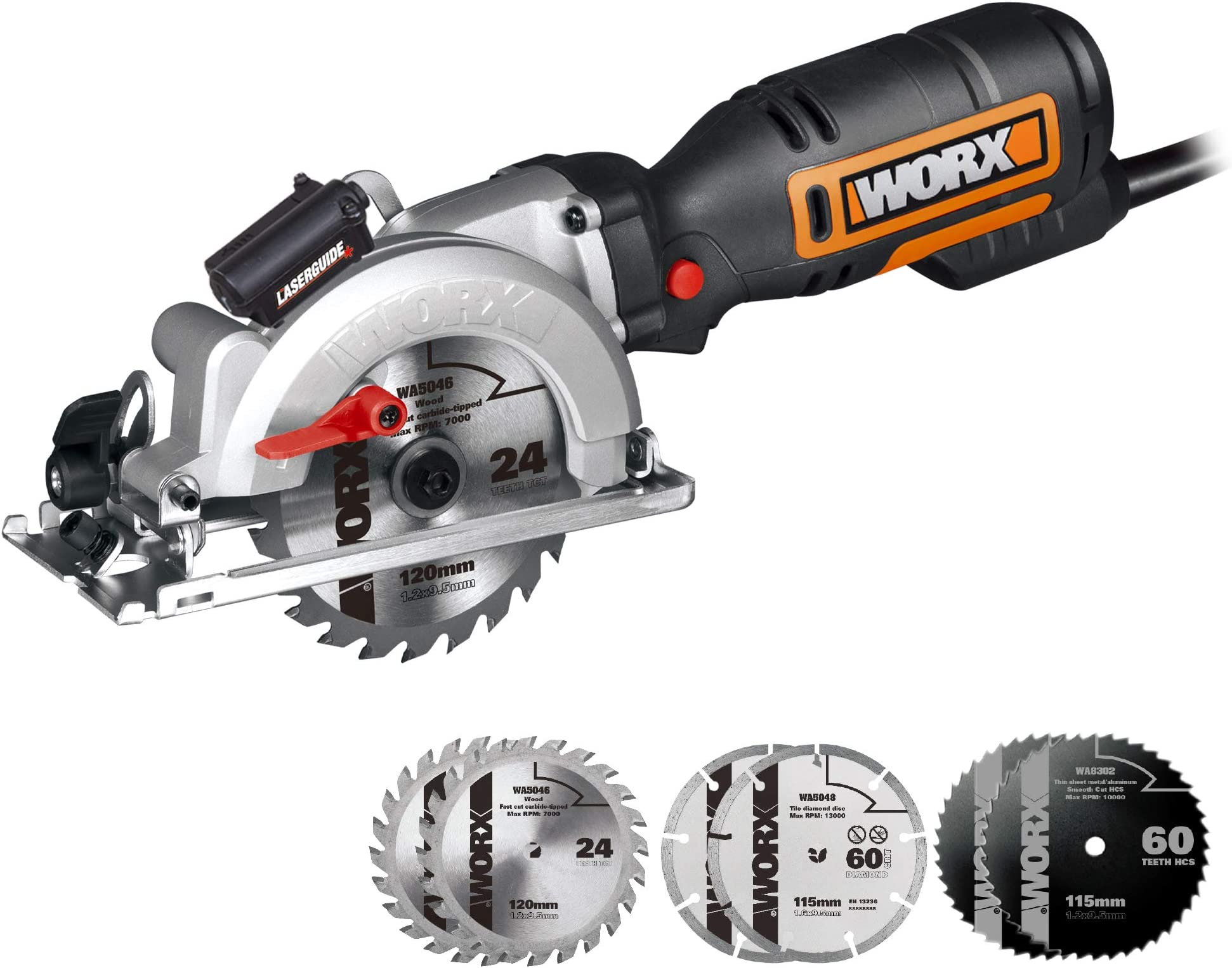 WORX WX427L 6A 4-1/2'' Corded Compact Circular Saw With 6 Saw Blades