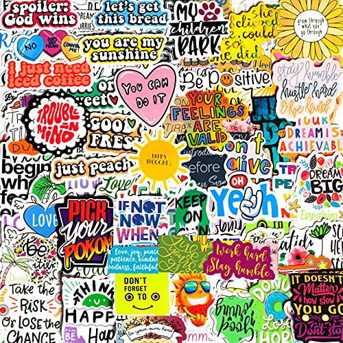 200PCS Inspirational Words Stickers for Laptop, Motivational Quote Stickers for Water Bottles, Trendy Vinyl Waterproof Positive Sticker Decals Packs for Adults Teens Hydroflasks Book Computer