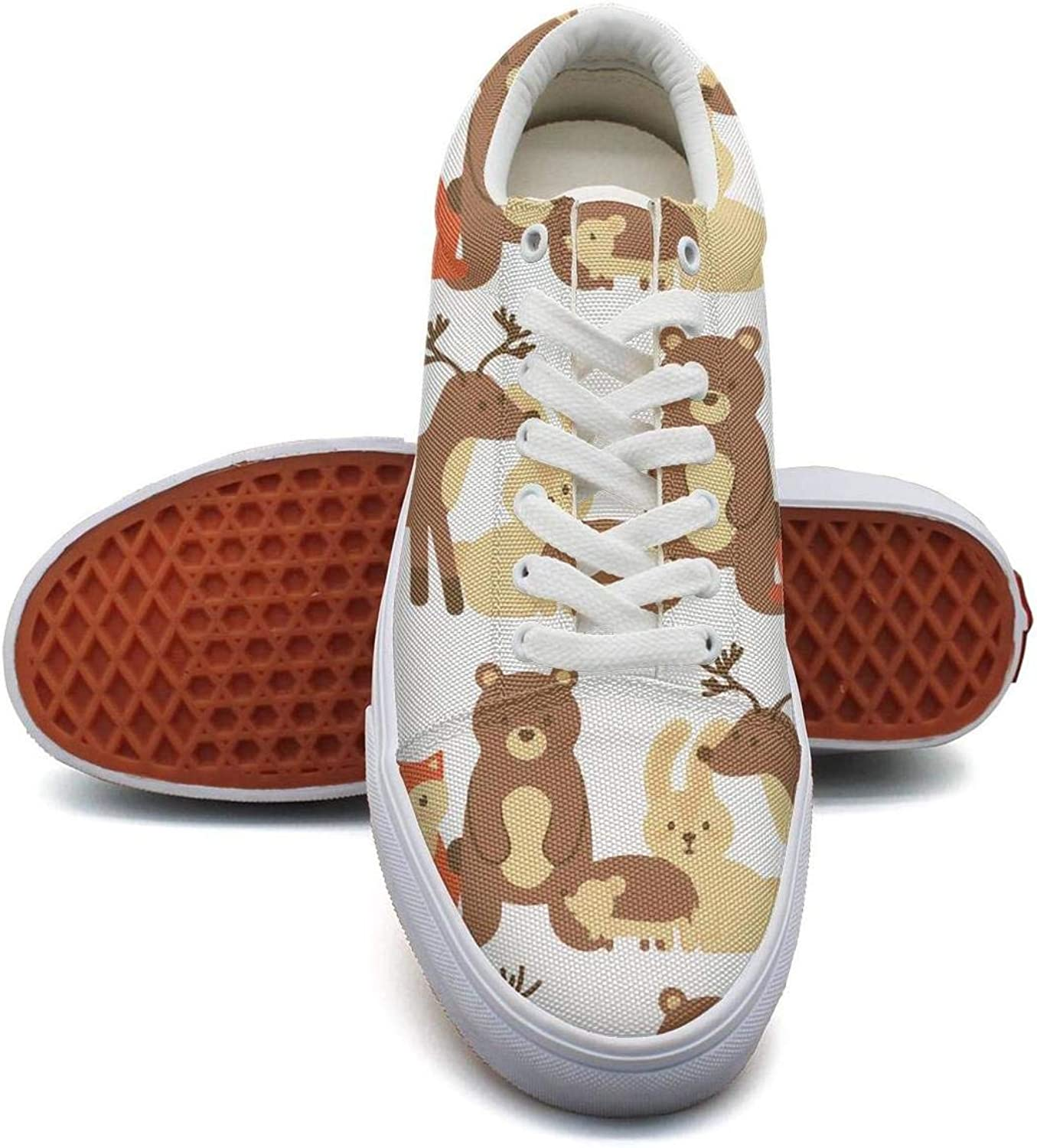 WENL Women's Stylish Sneaker Slip-on Athletic Cute Animal Foxes Bear Deer owl
