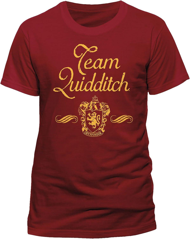 HARRY POTTER Maglietta da Uomo Team Quidditch Grifondoro Cotone Rosso