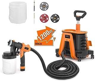 Paint Sprayer, Tacklife SGP17AC 1200W Hvlp Paint Gun, 1100ml/min& 1200ml Detachable Containers, Universal Wheel, Perfect f...