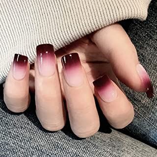 MISUD 24PCS Square False Nails Chic Cherry Red Gradient Glossy Medium Full Cover Nails Acrylic Fashion Elegant Press-on Fake Nails