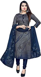 Rajnandini Women's Grey Cotton Printed Unstitched Salwar Suit Material
