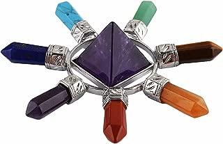 rockcloud Pyramid & 7 Chakra Points Energy Generator,Reiki Healing Crystal Stone,Amethyst