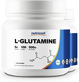 Nutricost L-Glutamine Powder 500G (2 Pack) - 5000mg Per Serving - 1.1 Pounds & 100 Servings Each - Highest Purity