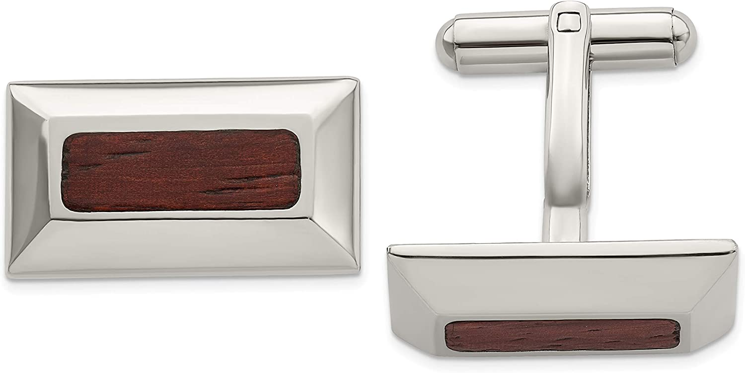 Chisel Stainless Steel Wood Inlay Cuff Links 23mm
