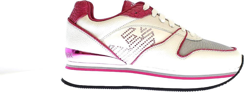 Emporio armani sneakers con lacci in pelle/nylon per  donna