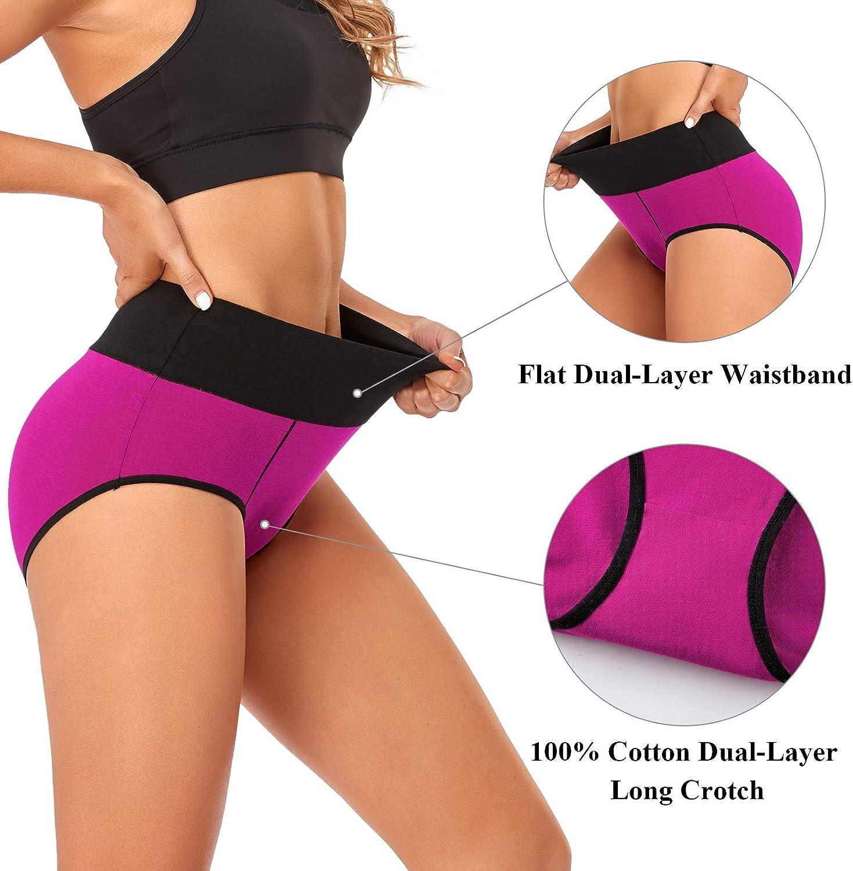 UMMISS Underwear for Women Cotton Briefs High Waist Full Coverage Soft Breathable Ladies Panties