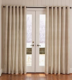 Plow & Hearth Thermalogic Check Grommet-Top Curtain Pair, 63 L - Wheat