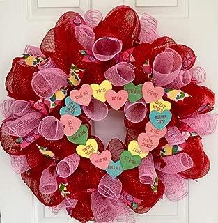 Valentines Conversation Heart Candy Wreath Handmade Deco Mesh