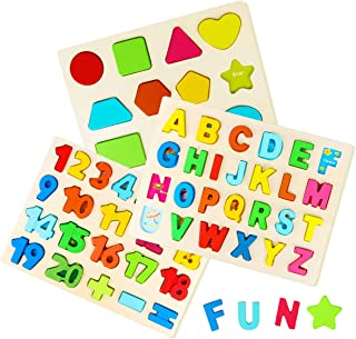 Wooden Puzzles for Toddlers, Aitey Wooden Alphabet Number Puzzles and Shape Puzzle for Kids Ages 2 3 4, Toddler Learning Puzzle Toys Set for Boys and Girls (Set of 3)
