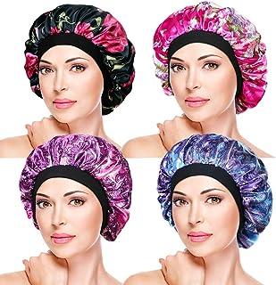4 Pieces Soft Sleep Caps – Night Satin Bonnet with Wide Premium Elastic Band, Salon Bonnet Hair Loss Sleeping Cap for Women